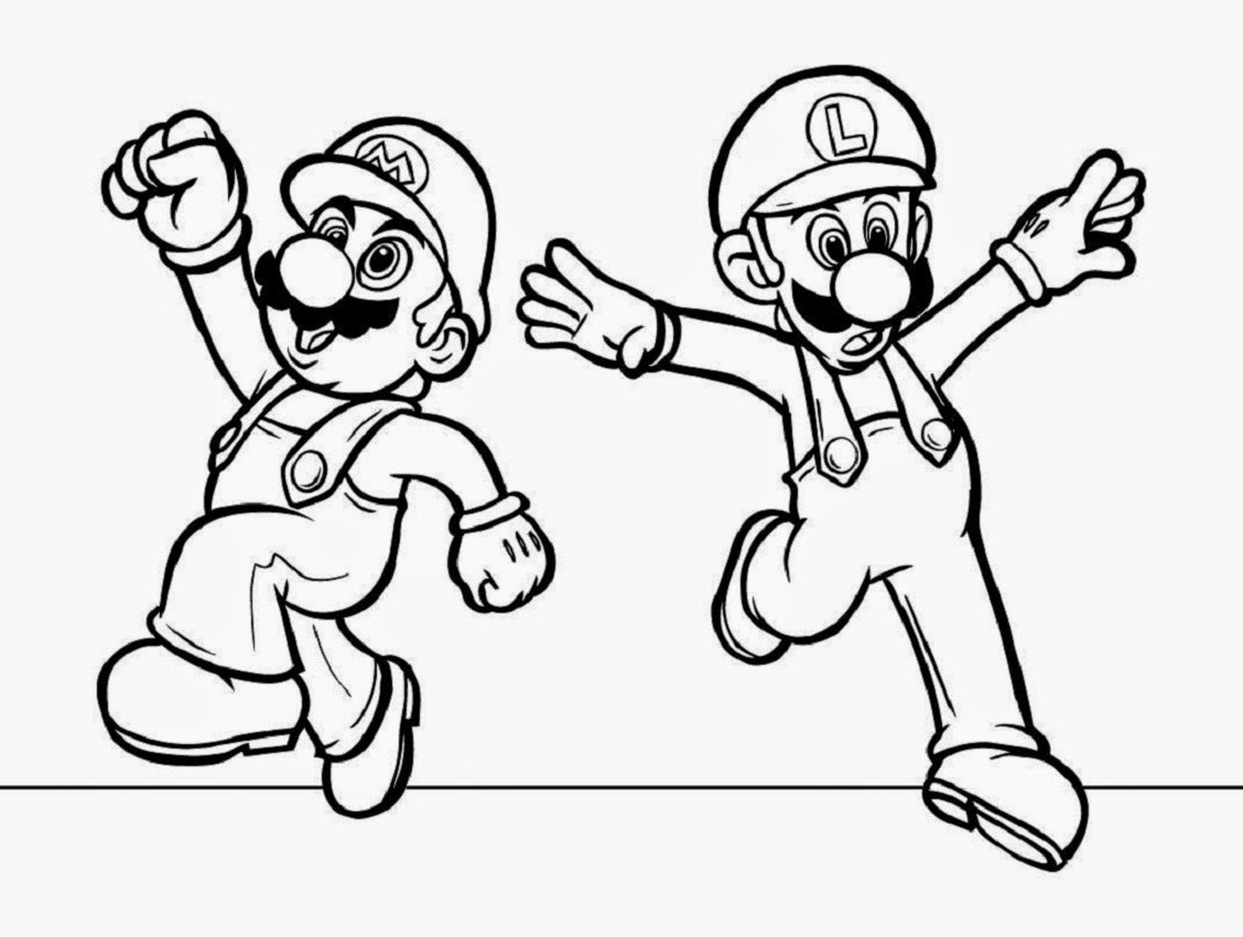 Super mario bros coloring drawing free wallpaper anggela for Super mario coloring pages online