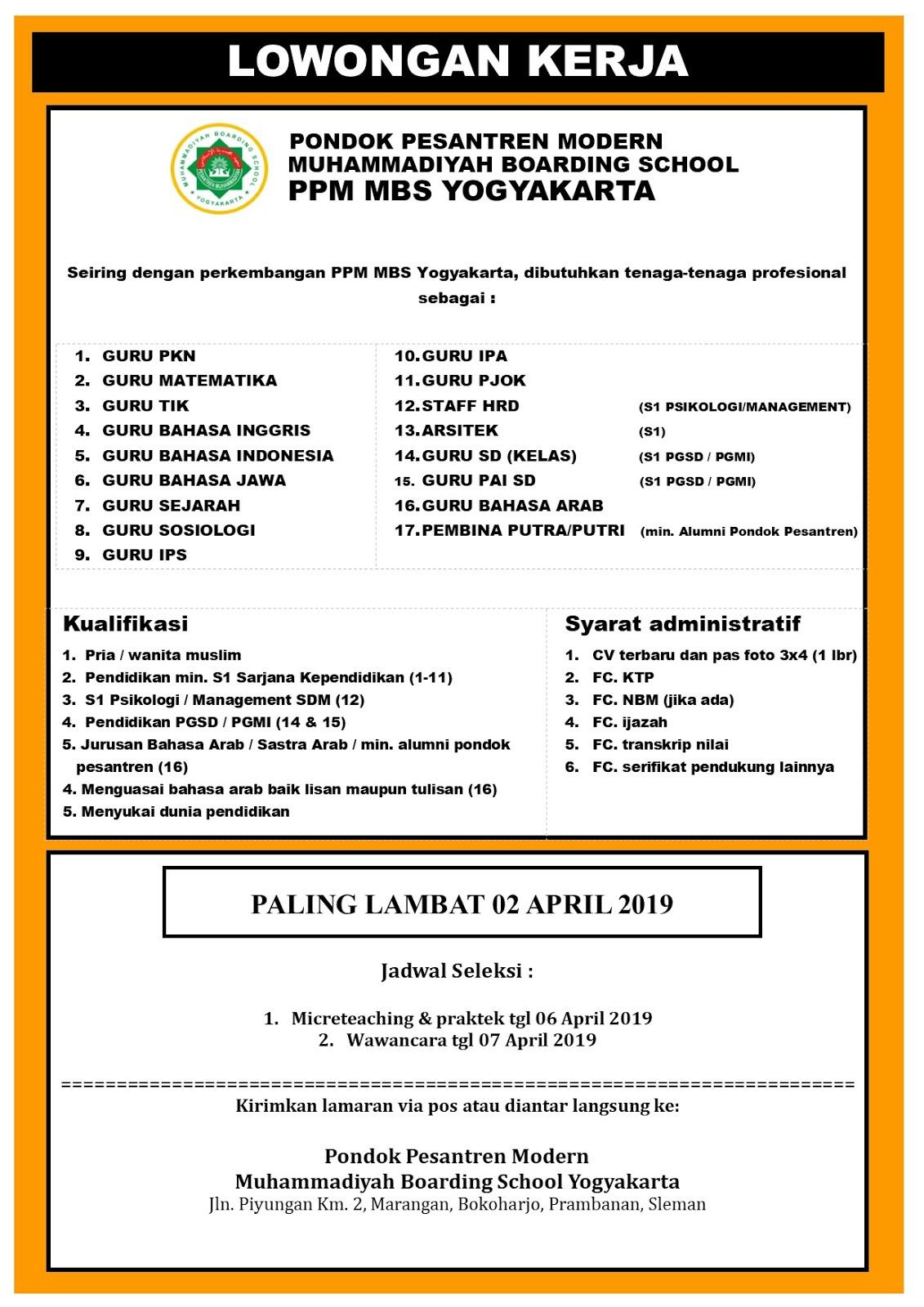 Lowongan Kerja Guru Di Ppm Mbs Yogyakarta Maret 2019 Loker Swasta