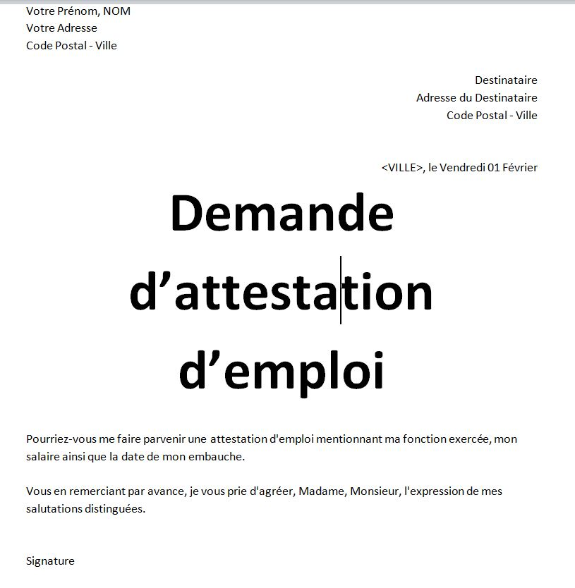 Exemples model de demandes attestation de travail word algerie | Certificat de travail, Modele ...