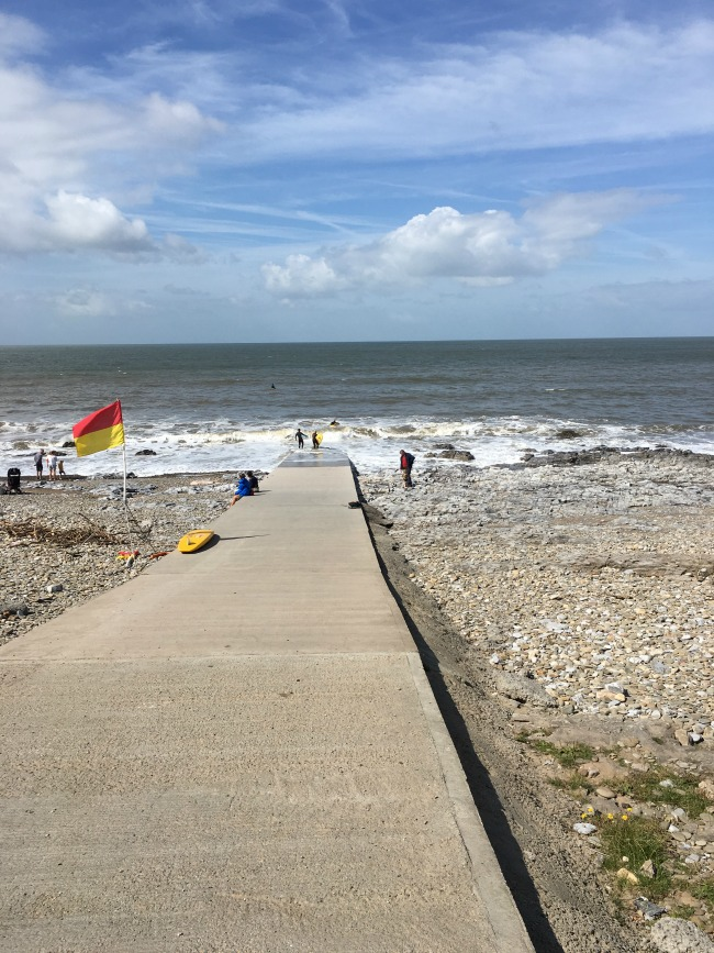 Ogmore-by-sea-ramp-to-sea-and-flag-flying