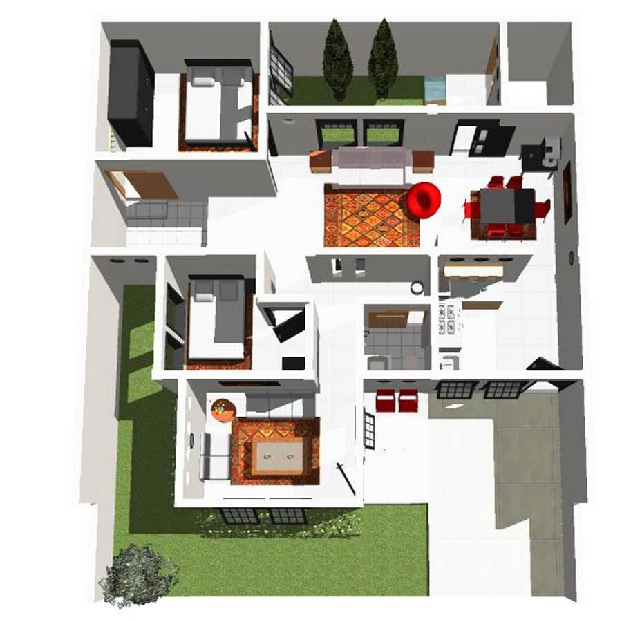 denah rumah minimalis sederhana ukuran 7x12m 2
