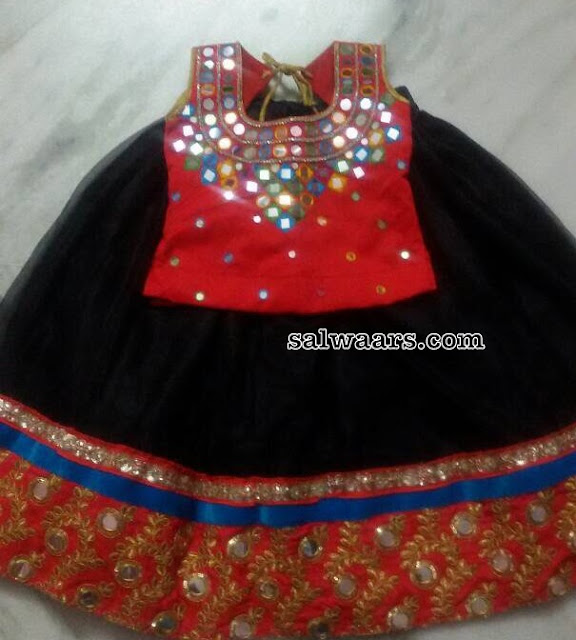 Black Lehenga Red Mirror Blouse