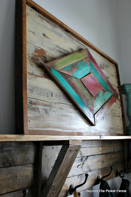use miter saw to cut angles for reclaimed wood art