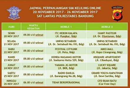 Jadwal Perpanjangan SIM Keliling Online Polrestabes Bandung