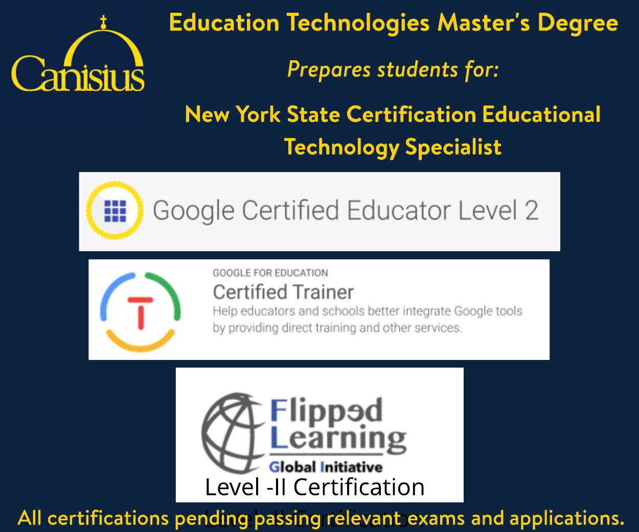 Canisiusedtech our online ms leads to multiple certifications httpscanisiusacademicsprogramseducation technologies emerging media xflitez Choice Image