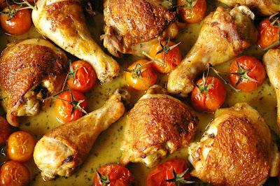 estragonowy kurczak w winie, kurczak pieczony z estragonem