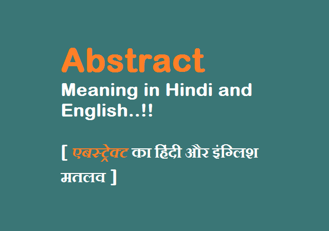 Abstract Meaning in Hindi and English