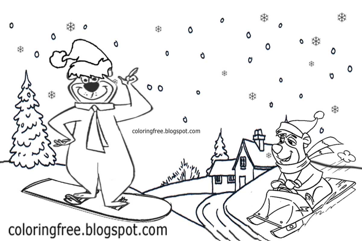 bears skiing coloring pages - photo#48