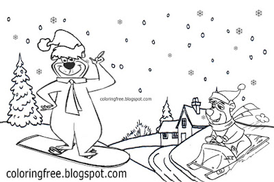 Toboggan snow scenery winter Yellowstone yogi bear holiday resort Christmas sledge ski park coloring