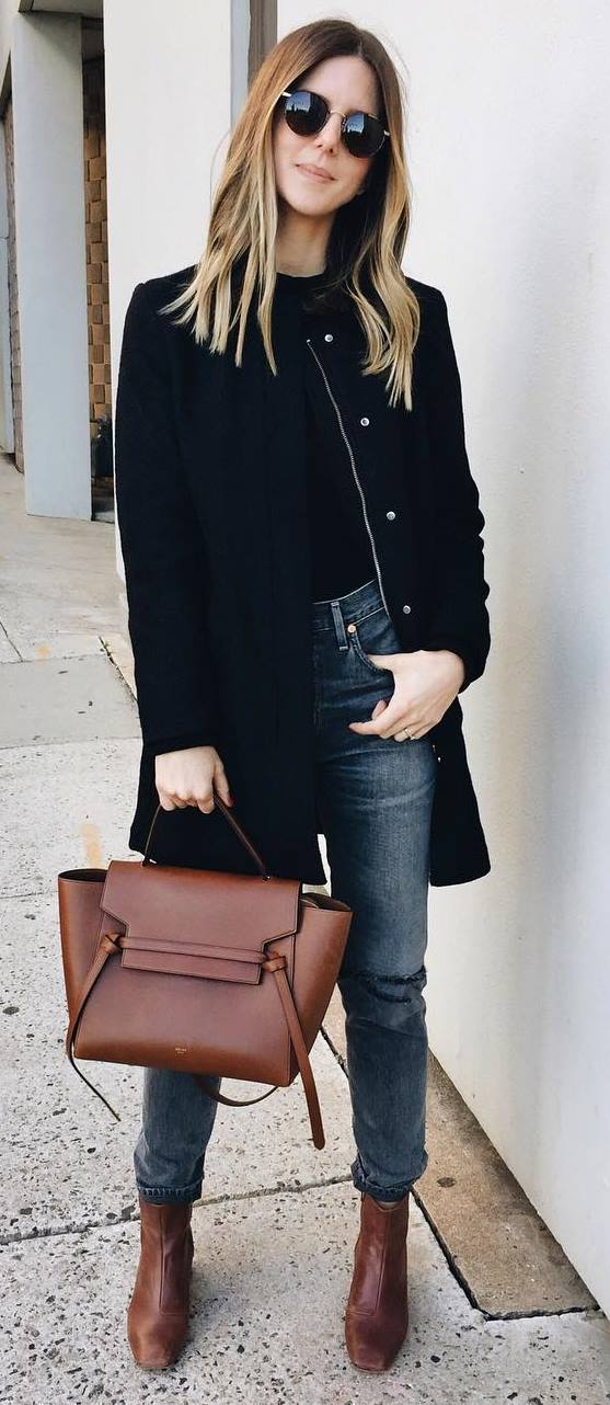 simple outfit idea: coat + top + jeans + bag + boots