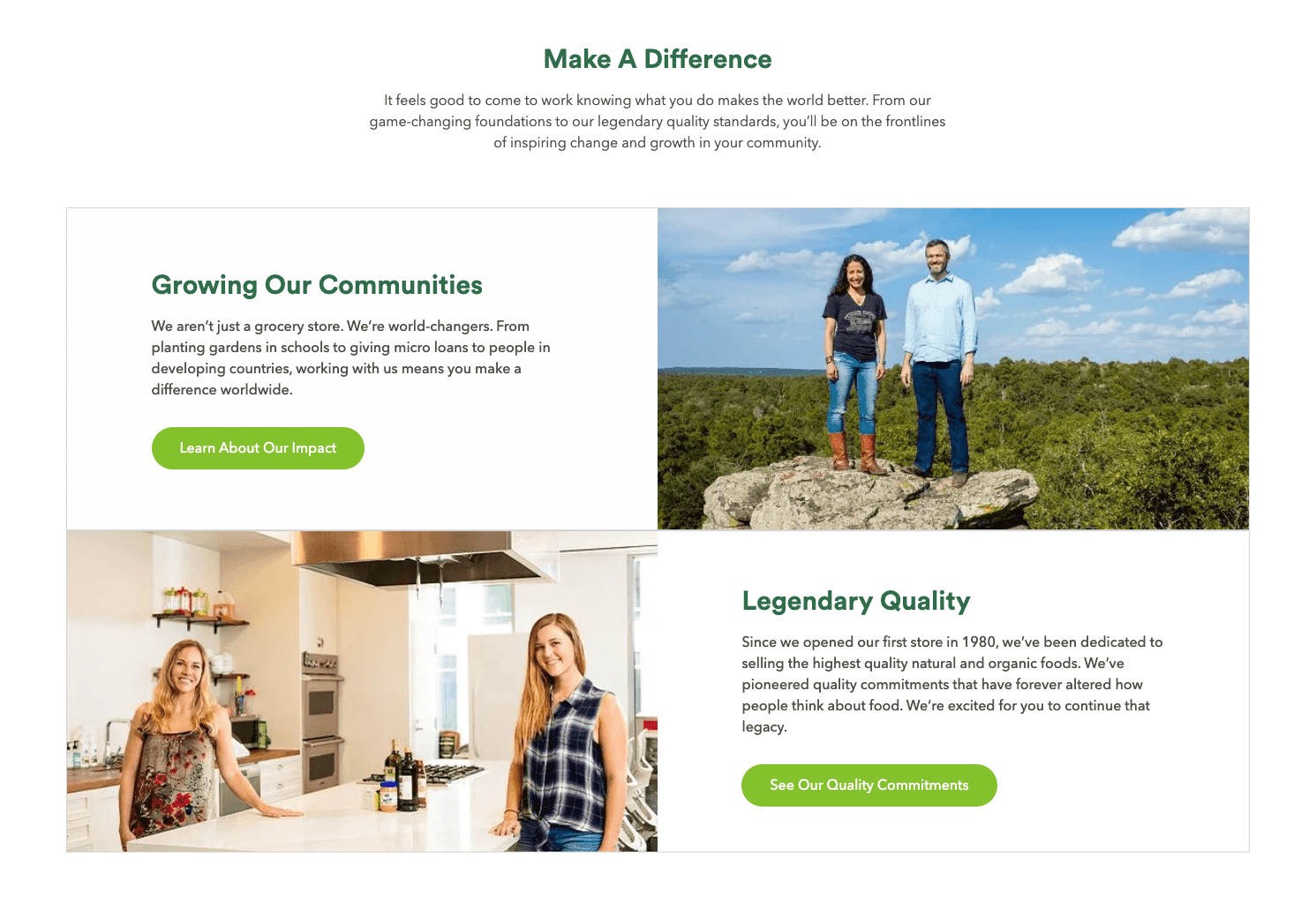 Whole Foods' careers website