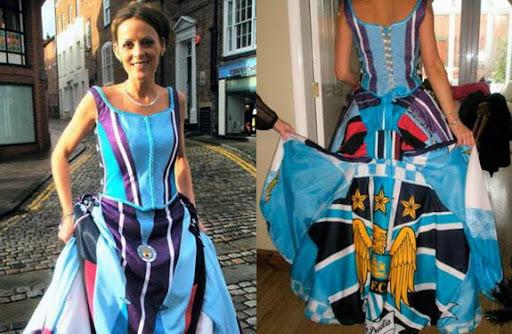 Karen Bell in her wedding dress made from replica Manchester City shirts