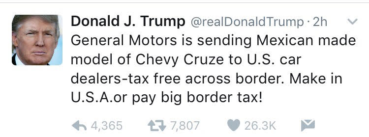 Read Donald Trump tweets about Obamacare & General Motors ...