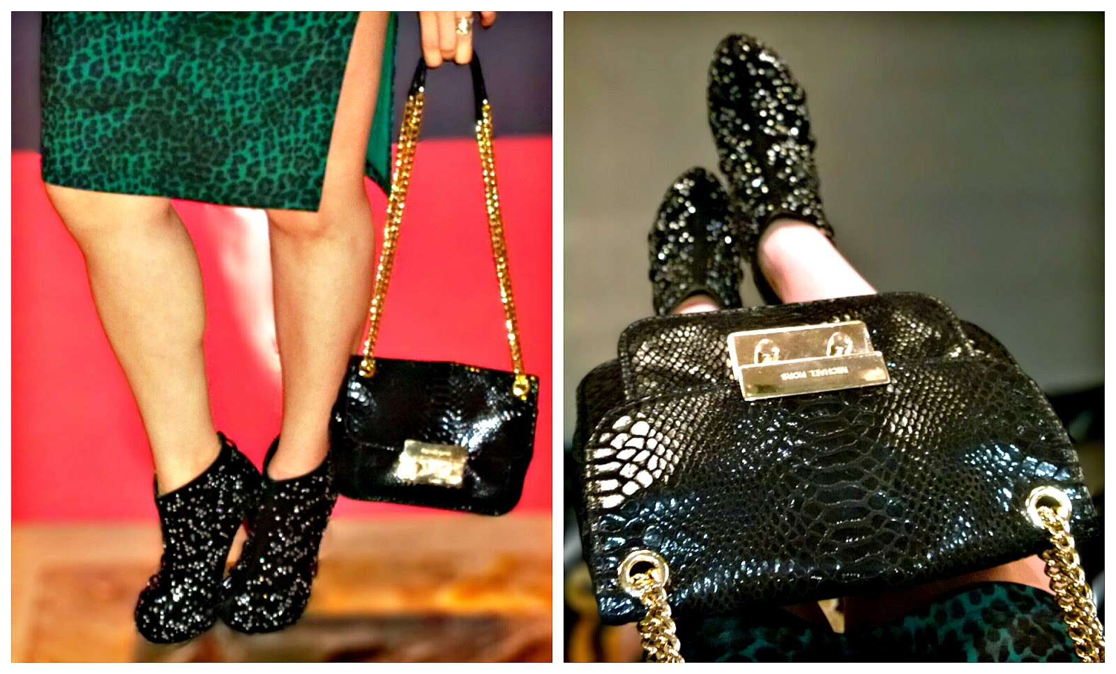 Rhinestone Black Ankle Boots, Michael Kors Black Patent Python Small Sloan Shoulder Flap Bag