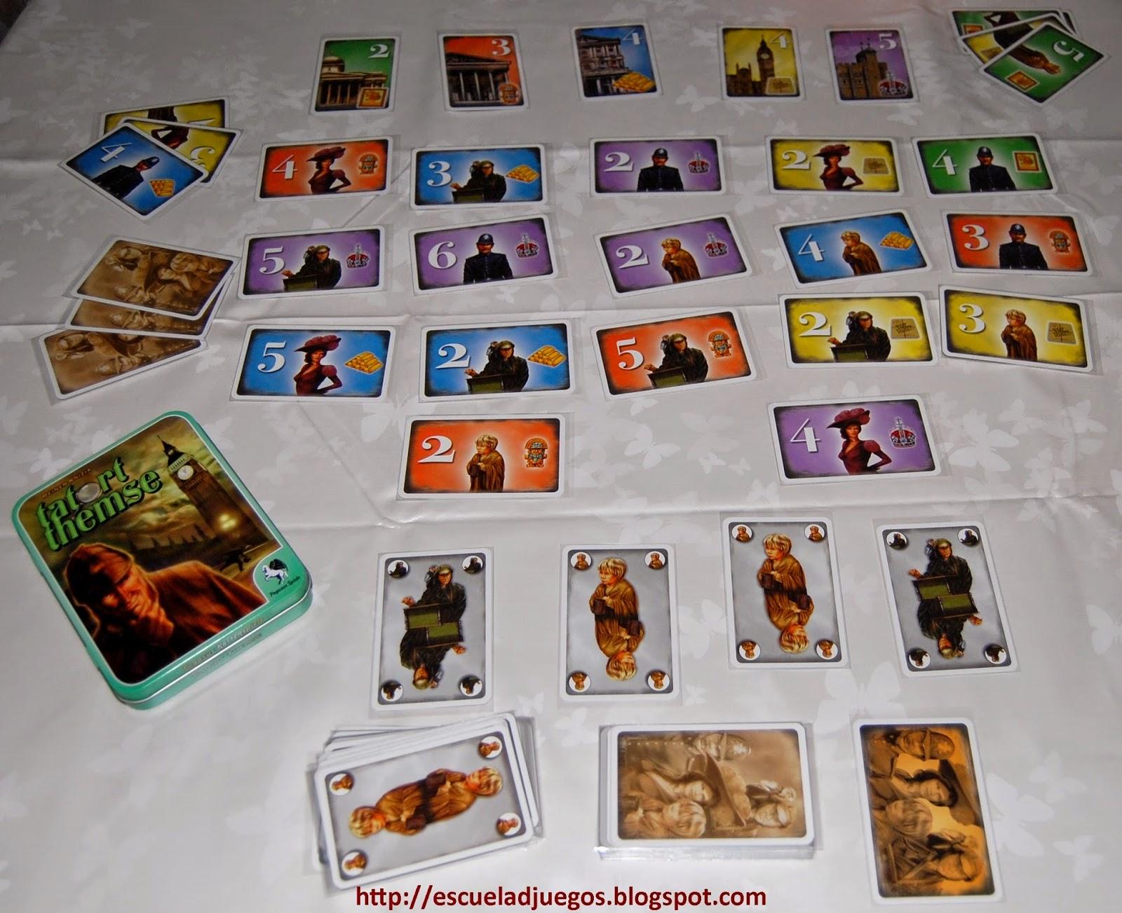 Reseña de Looting London, filler de cartas de Reiner Knizia para hasta 5 jugadores, editado en inglés por Gryphon games y en alemán como Tatort Themse por Pegasus Spiele.