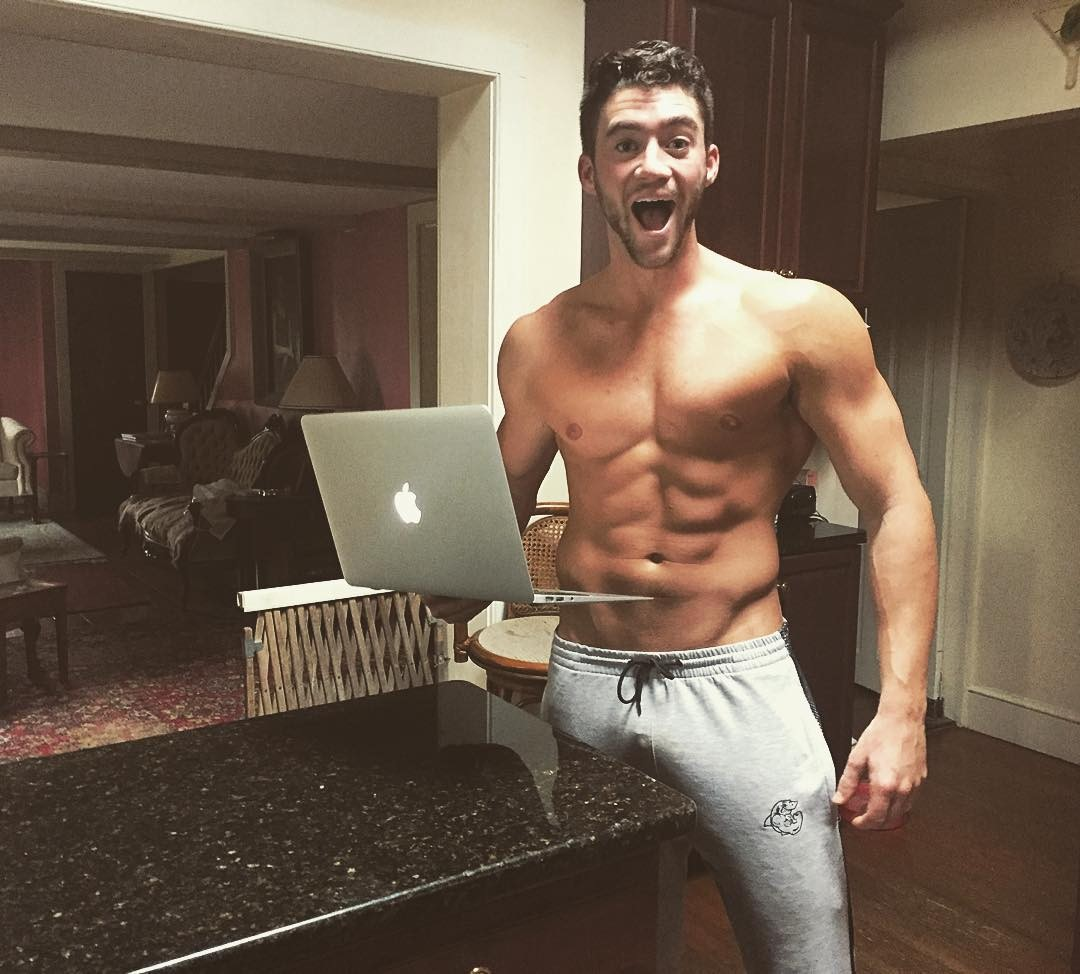 shirtless-model-Austen-Gravett-laptop