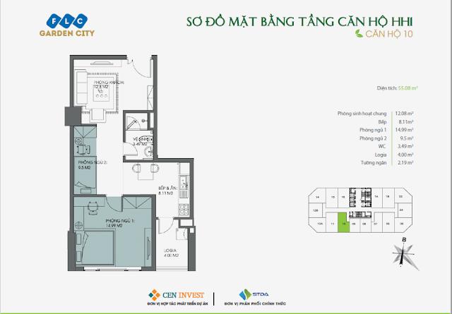 Thiết kế căn hộ 10, 55m, HH1 FLC Garden City