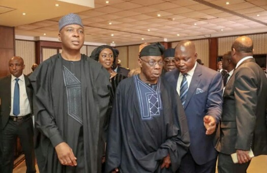 Saraki Meets Obasanjo, Abulsalami Abubakar (Photos)