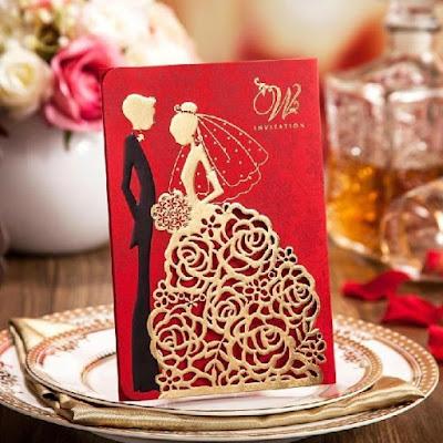 mẫu thiệp cưới cắt laser hình cô dâu chú rể