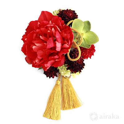 芍薬とポンポンマムの髪飾り(赤)-ウェディングブーケと花髪飾りairaka