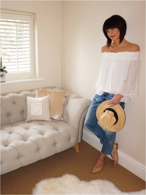 My Midlife Fashion, Zara Lace Off the shoulder blouse, bardot top, distressed cigarette length straight leg jeans, cocobay seafolly straw fedora, zara ghille lace up flats