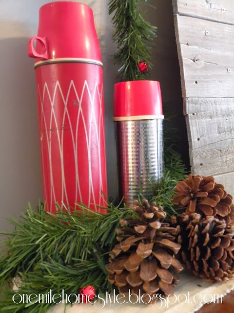 Red vintage thermos Christmas decor