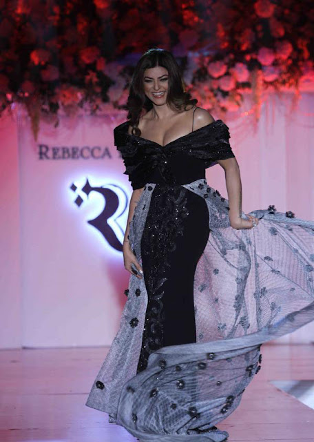 Sushmita Sen in Black Gown at Rebecca Dewan Couture Label Launch