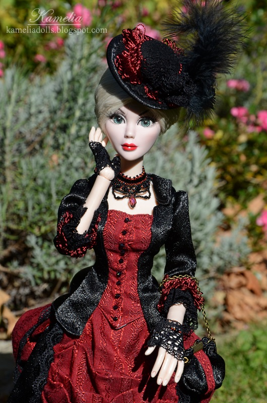 Black and burgundy victorian dress for Evangeline