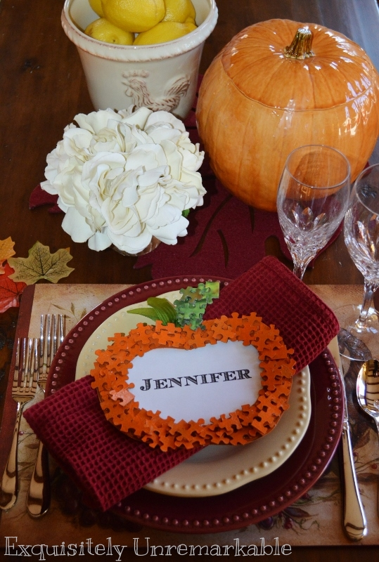 Puzzle Piece Place Card on a Thanksgiving table setting
