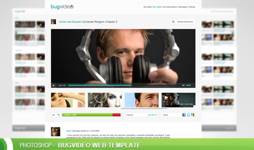 BugVideo free PSD web template