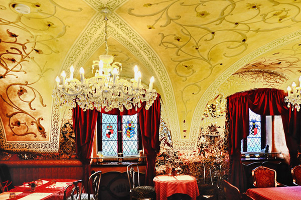 The baroque inspired dining room. Boutique Hotel photography in Prague by Kent Johnson.
