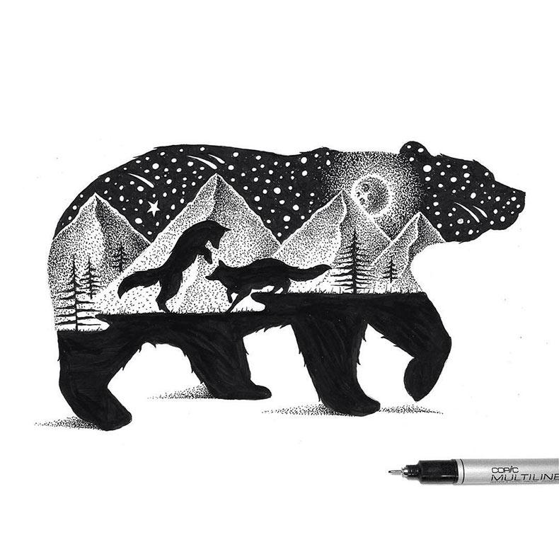 Ilustraciones de 'doble exposición' del Reino Animal hechos de miles de puntos diminutos