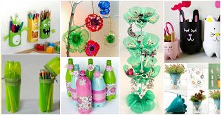 Artesanato com garrafas plásticas recicladas.