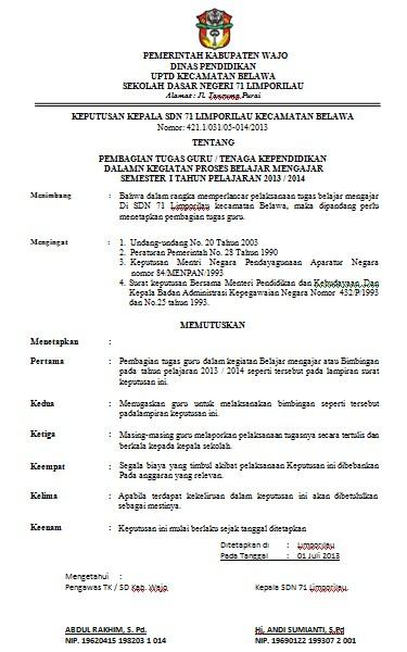 Download Contoh SK Pembagian Tugas Guru SD File Word