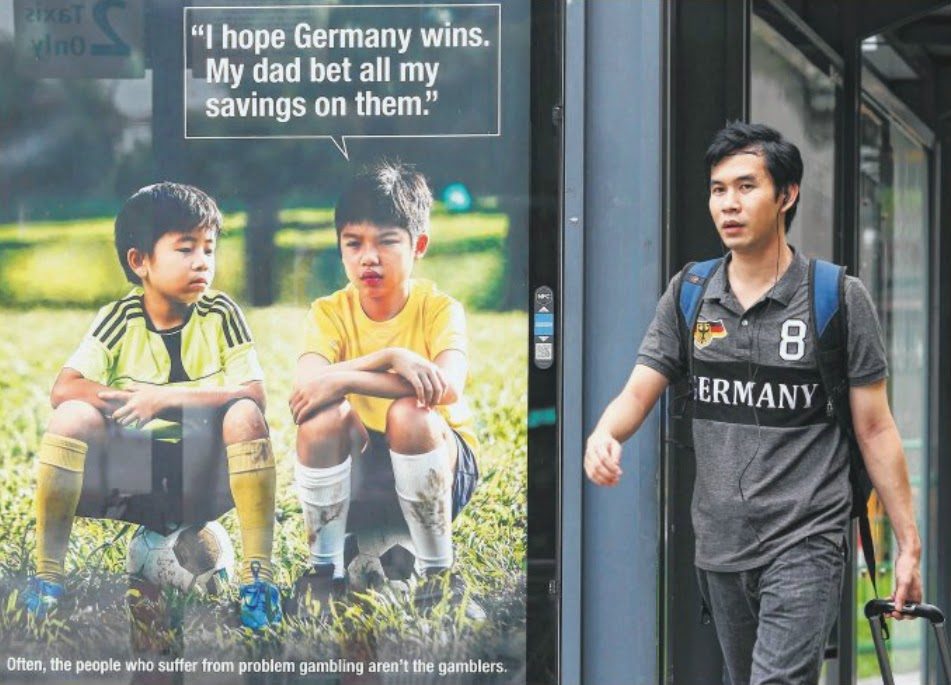 SPOT ON: This anti-gambling advertisement by the National Council on Problem Gambling went viral after Germany's shock 7-1 win against Brazil at the World Cup. An outrageous bet on the match by a punter here has also paid off, with a $15,000 win.