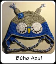Búho azul a crochet, gorro con orejeras