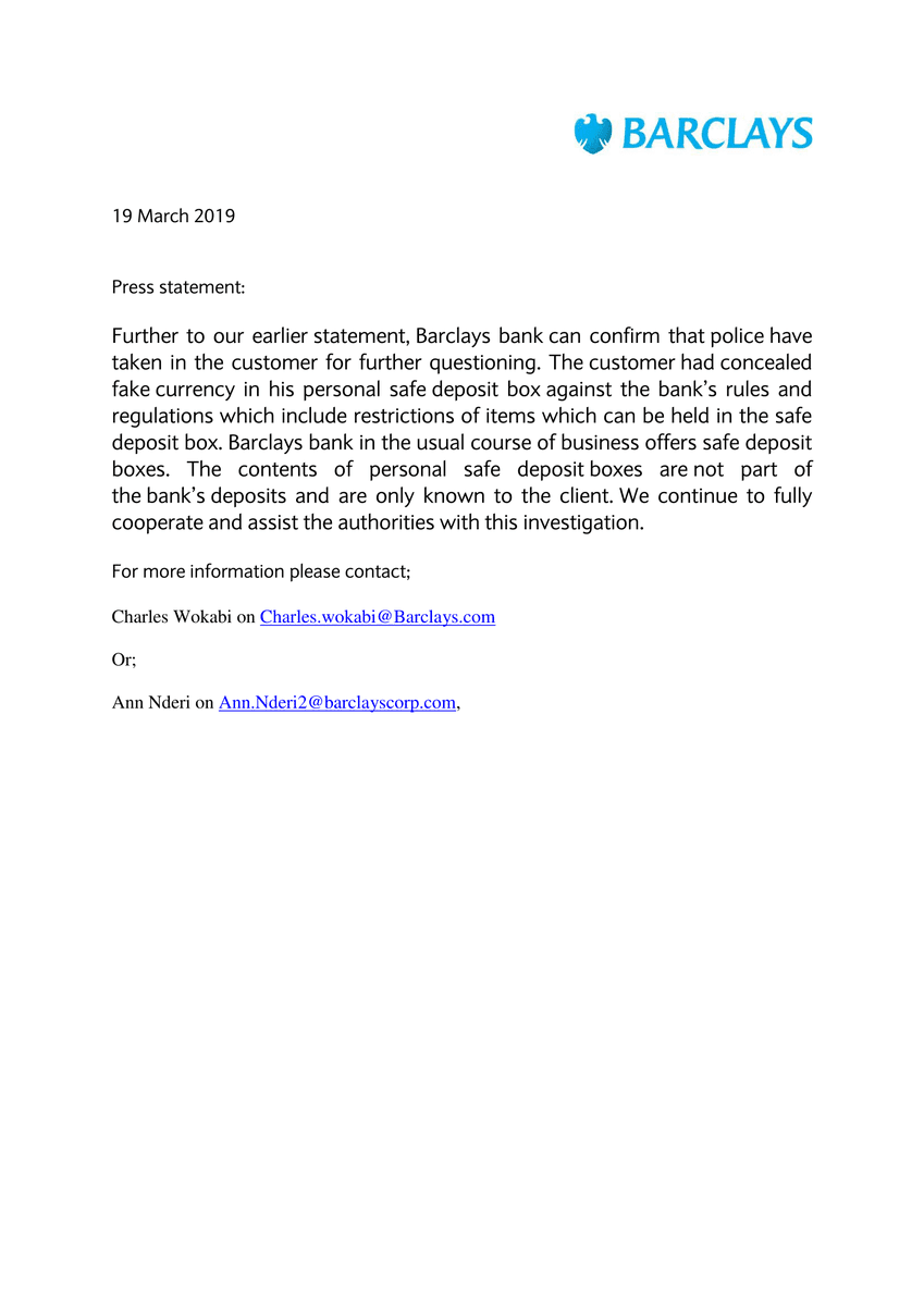 Barclays Issues A Statement On The Ksh17 Billion Fake Money Found Inside The Bank