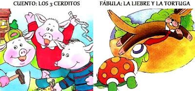 Dibujos de un cuento y una fábula a colores para niños