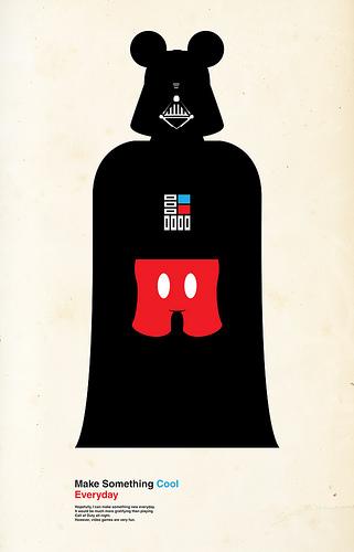Cartel de Darth Vader y Mikey Mouse