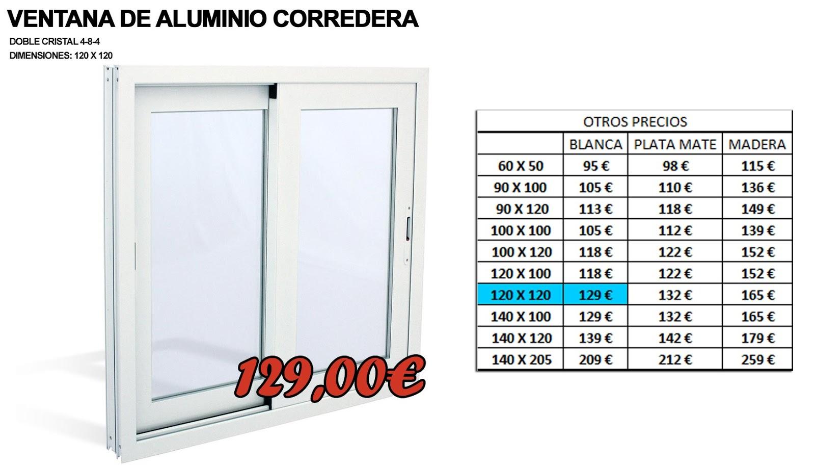 Ofertas en ventanas de aluminio cerramientos valencia for Precio ventana pvc con persiana