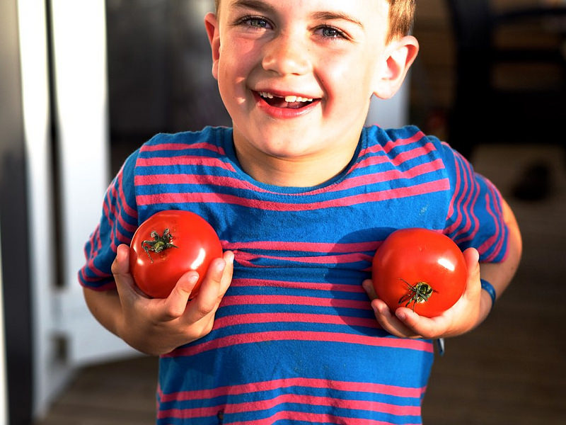 cheeky laughing kid with tomatoes
