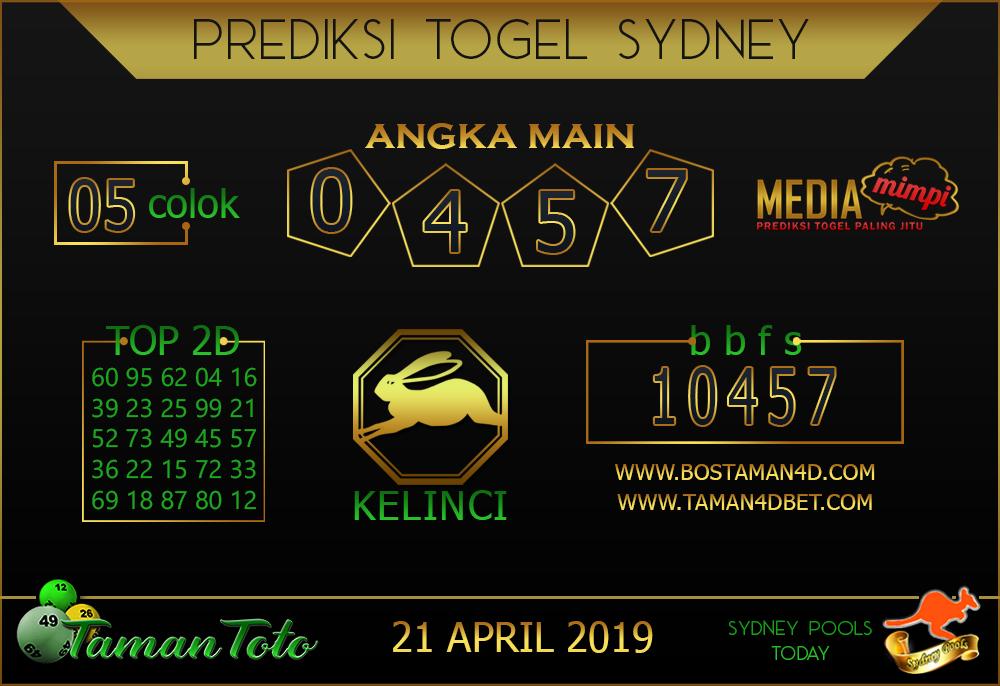 Prediksi Togel SYDNEY TAMAN TOTO 21 APRIL 2019