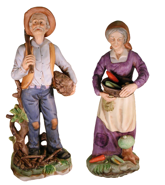 Well detailed and beautifully designed old man and old woman bisque pieces from Italy, with the man being a woodcutter, and the woman carrying a large bowl of vegetables.