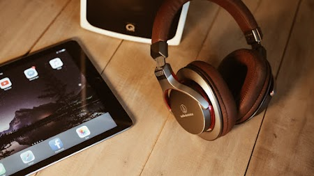 iPad Tablet. Audio-Technica Headphones
