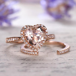 Morganite heart shaped engagement ring and diamond ,Solid 14k 18k Rose gold promise ring for her,Diamond wedding band,2 pcs bridal set,halo ring