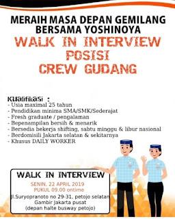 Info Lowongan Kerja Restoran Yoshinoya Crew Gudang Jakarta