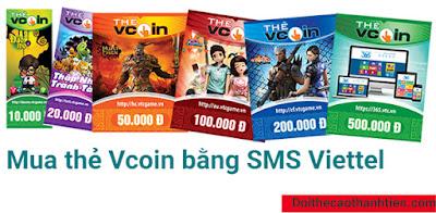 Sử dụng sms Viettel để mua thẻ cào Vcoin