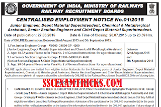 RRB SSE JE Recruitment 2015 Notice