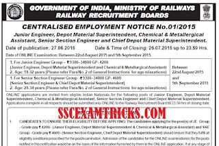 RRB SSE JE Recruitment 2015 Notice