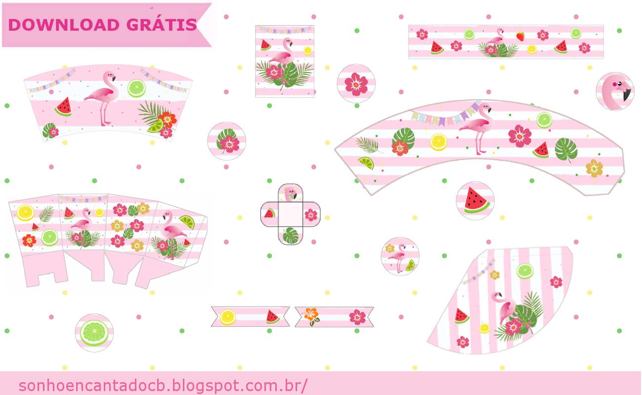 Festa Com Tema Flamingo Kit Free Para Imprimir